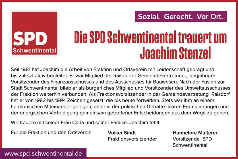 Die SPD Schwentinental trauert um Joachim Strenzel